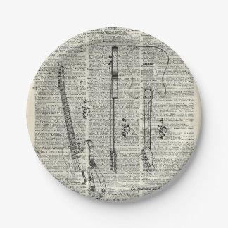 Viejo ejemplo de la guitarra del vintage en la plato de papel de 7 pulgadas