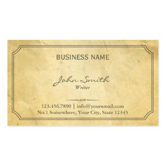 Viejo escritor de papel enmarcado vintage tarjetas de visita