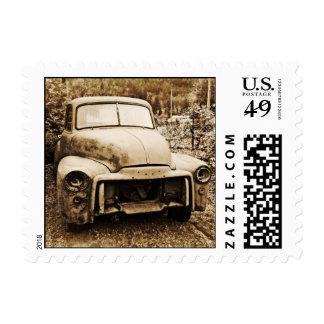 Viejo estilo de la foto del camión antiguo del sello