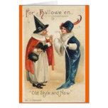 Viejo estilo y nuevos deseos de Halloween Tarjeta De Felicitación