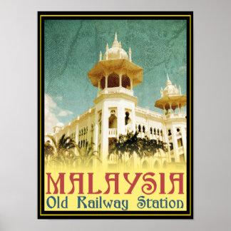 Viejo ferrocarril de Malasia Póster