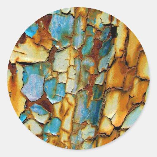 Viejo fondo oxidado pegatina redonda