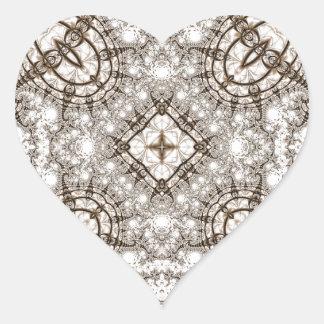 Viejo fractal 13 del cordón pegatina en forma de corazón