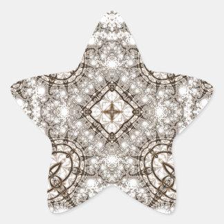 Viejo fractal 13 del cordón pegatina en forma de estrella