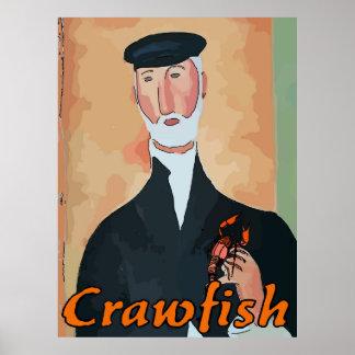 Viejo francés con los cangrejos póster