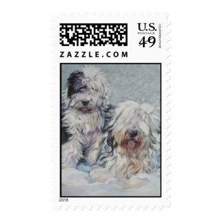 viejo franqueo inglés del perro pastor sellos postales
