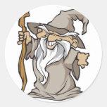 viejo hechicero gris del mago etiqueta redonda
