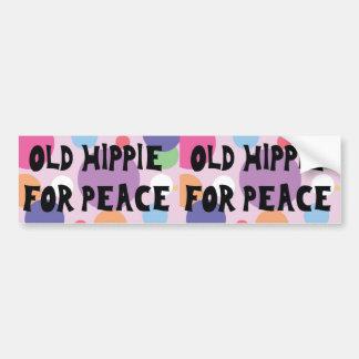 Viejo Hippie para la pegatina para el parachoques  Etiqueta De Parachoque