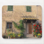 Viejo hogar hermoso con las flores en San Gimignan Tapete De Raton