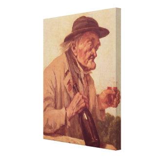 Viejo hombre con un vidrio de vino impresión en lienzo