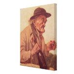 Viejo hombre con un vidrio de vino lona envuelta para galerias