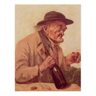 Viejo hombre con un vidrio de vino postal
