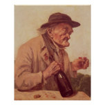 Viejo hombre con un vidrio de vino póster