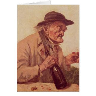 Viejo hombre con un vidrio de vino tarjeta de felicitación