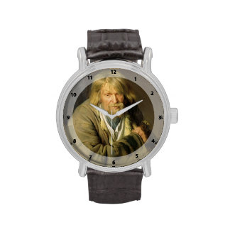 Viejo hombre de Ivan Kramskoy- con una muleta Relojes De Pulsera