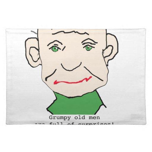 Viejo hombre divertido gruñón mantel individual