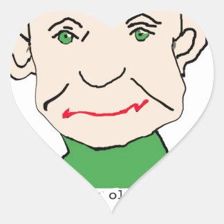 Viejo hombre divertido gruñón calcomanías de corazones personalizadas