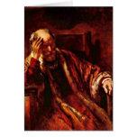 Viejo hombre en la butaca de Rembrandt Van Rijn Tarjeta De Felicitación