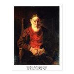 Viejo hombre en la butaca de Rembrandt Van Rijn Postal
