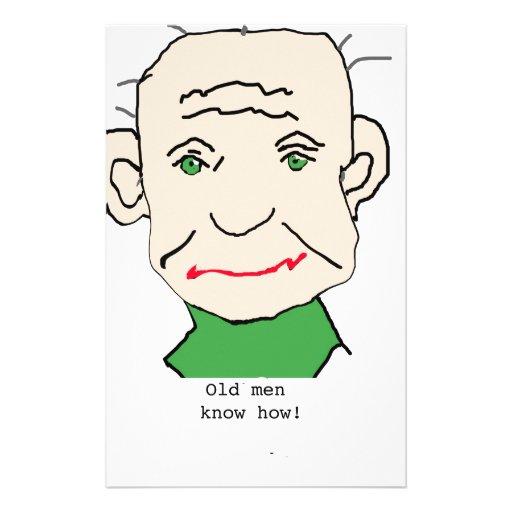 Viejo hombre gruñón papelería de diseño