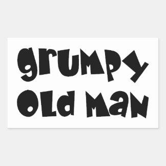 Viejo hombre gruñón rectangular pegatinas