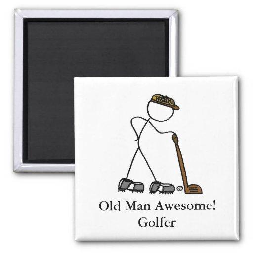 ¡Viejo hombre impresionante! Golfista Imanes