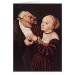 Viejo hombre y mujer joven por Lucas Cranach la an Felicitaciones