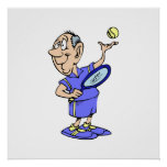 Viejo individuo del tenis posters