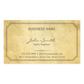 Viejo ingeniero de seguridad de papel envejecido d tarjetas de visita