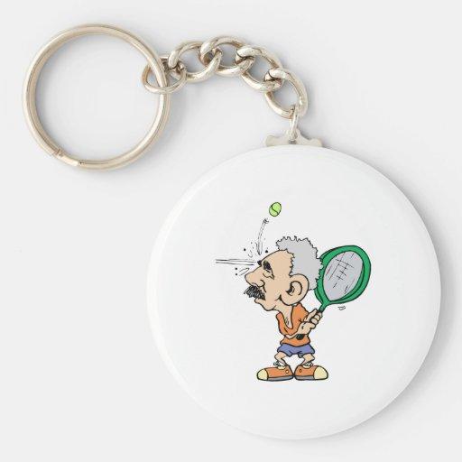 Viejo jugador de tenis llavero redondo tipo pin