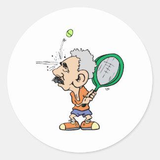 Viejo jugador de tenis etiquetas redondas