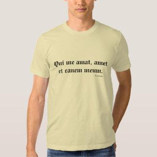 Viejo latín inglés Qui yo Amat, Amet y Canem Meum Remera