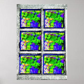 Viejo marco de ventana impresiones