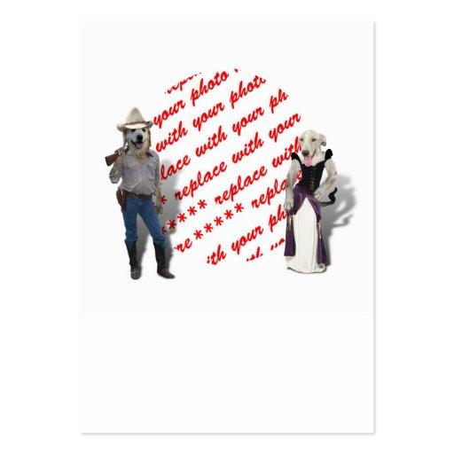 Viejo marco del oeste de la foto de los perros tarjetas de visita grandes