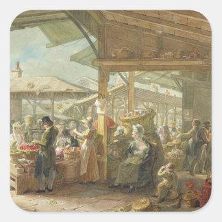Viejo mercado del jardín de Covent, 1825 Colcomanias Cuadradas