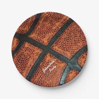 Viejo modelo retro del baloncesto con nombre plato de papel de 7 pulgadas