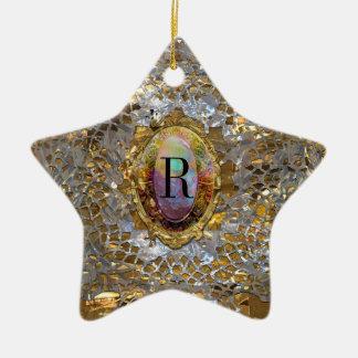 Viejo monograma elegante elegante de Hollywood Adorno Navideño De Cerámica En Forma De Estrella