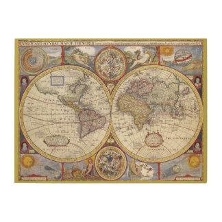 Viejo Mundo del vintage y mapas de la antigüedad Cuadro De Madera
