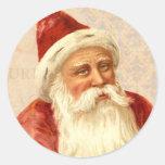 Viejo Mundo Santa del vintage con la cara buena Pegatinas Redondas