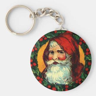 Viejo Mundo Santa en marco tradicional de la guirn Llaveros Personalizados