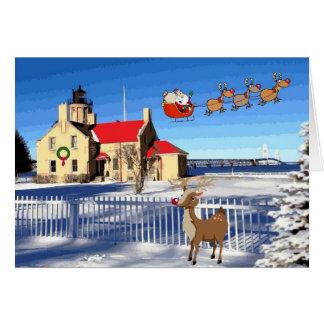 Viejo navidad del faro del punto de Mackinac Tarjeta De Felicitación