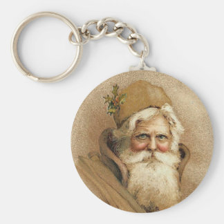 Viejo navidad del St. Nick del vintage Llavero Redondo Tipo Pin