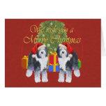 Viejo navidad inglés del perro pastor felicitación