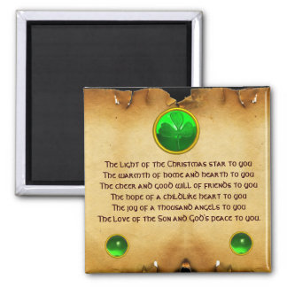 Viejo navidad irlandés que bendice el pergamino imán cuadrado