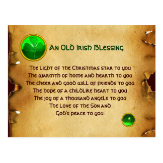 Viejo navidad irlandés que bendice el pergamino tarjeta postal