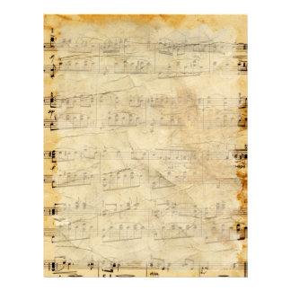 Viejo papel con membrete del pergamino de la músic membretes personalizados