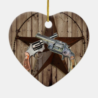 """viejo poste dual occidental rústico del arma """" adorno de cerámica en forma de corazón"""