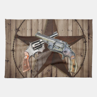 """viejo poste dual occidental rústico del arma """" toallas de mano"""