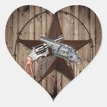 """viejo poste dual occidental rústico del arma """" pegatina corazón personalizadas"""