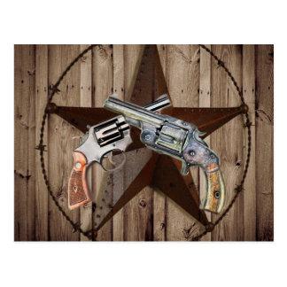 "viejo poste dual occidental rústico del arma "" tarjetas postales"